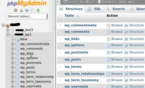 راهنمای کار با phpMyAdmin