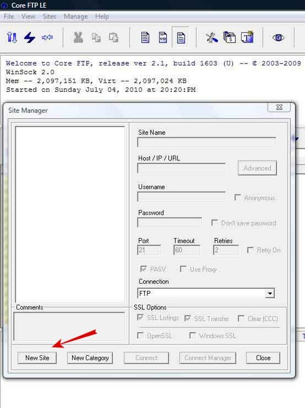 مدیریت اف تی پی با Core FTP Lite