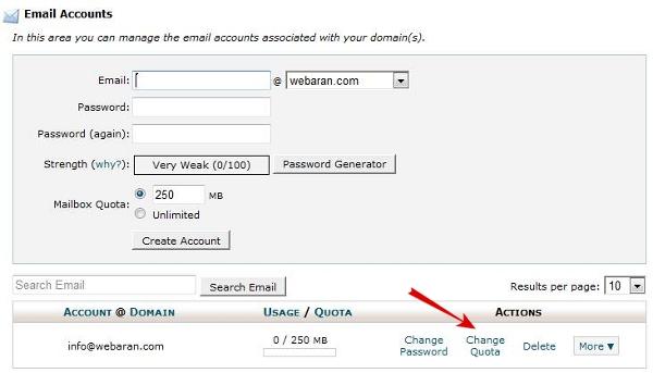 مدیریت حجم فضای ایمیل ها