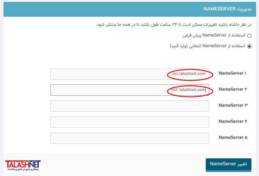 تنظیم DNS دامنه